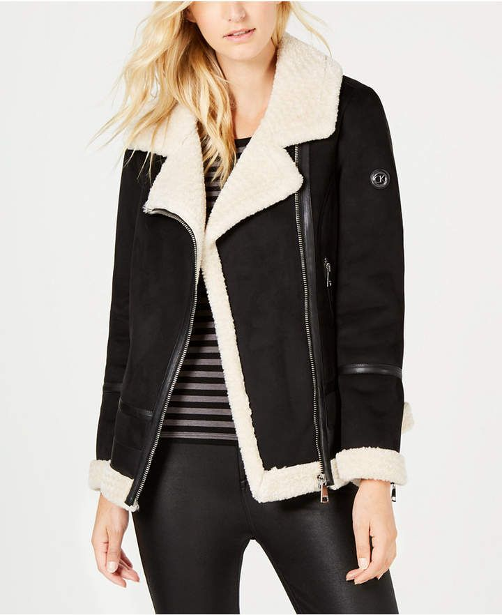 aa77340a3165 Faux-Shearling Moto Jacket in 2019 | Products | Moto jacket, Faux ...
