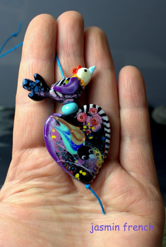 °° BIRD LADY °° lampwork beads focal set by jasmin french