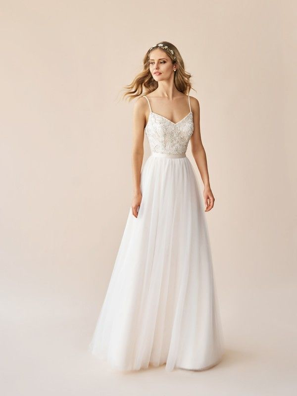 Beaded Bridal Top With Straps Simply Val Stefani S2053a In 2020 Tank Top Wedding Dress Top Wedding Dresses A Line Wedding Dress