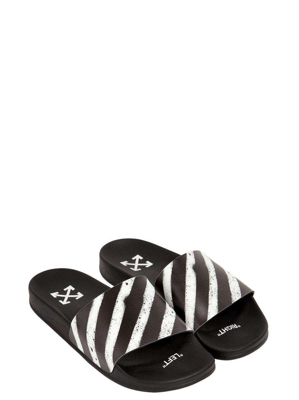 8120fd795f2 OFF-WHITE SPRAY STRIPES SLIDE SANDALS.  off-white  shoes