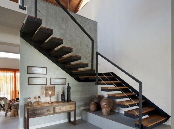 Escaleras de madera aluminio cristal 101 ideas armario for Escaleras metalicas para interiores de casas