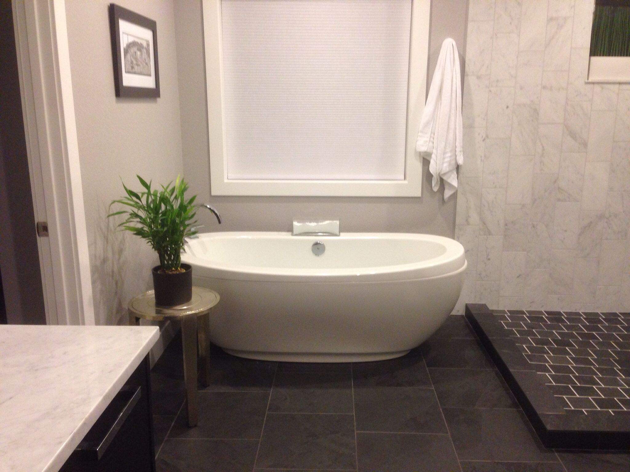 My master bath- Free standing bath tub with slate floors. Maax tub ...