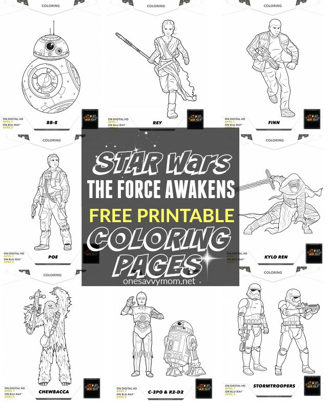 FREE Printable Star Wars The Force Awakens Coloring Pages