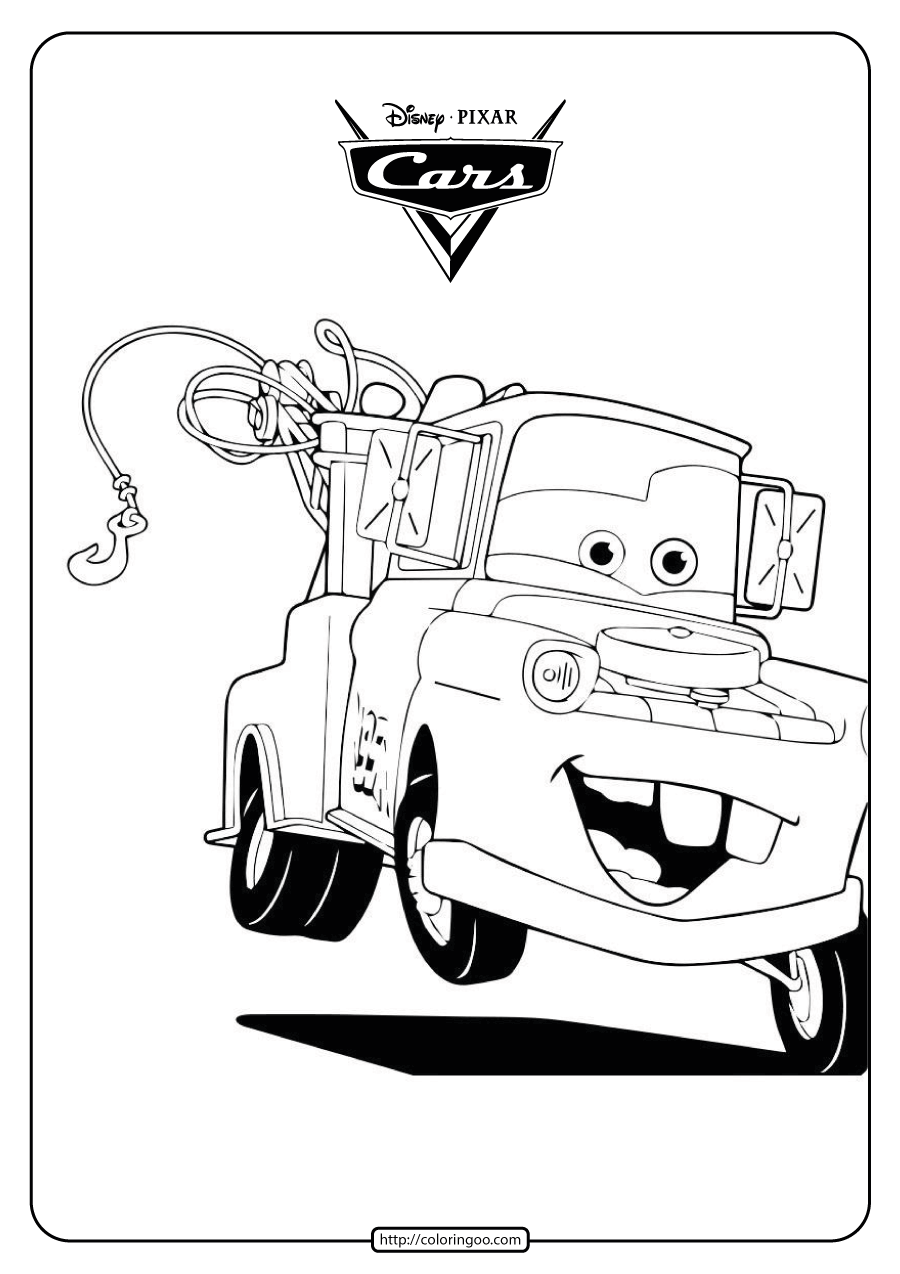 Disney Mater The Tow Truck Cars Coloring Pages Cars Coloring Pages Truck Coloring Pages Disney Coloring Pages