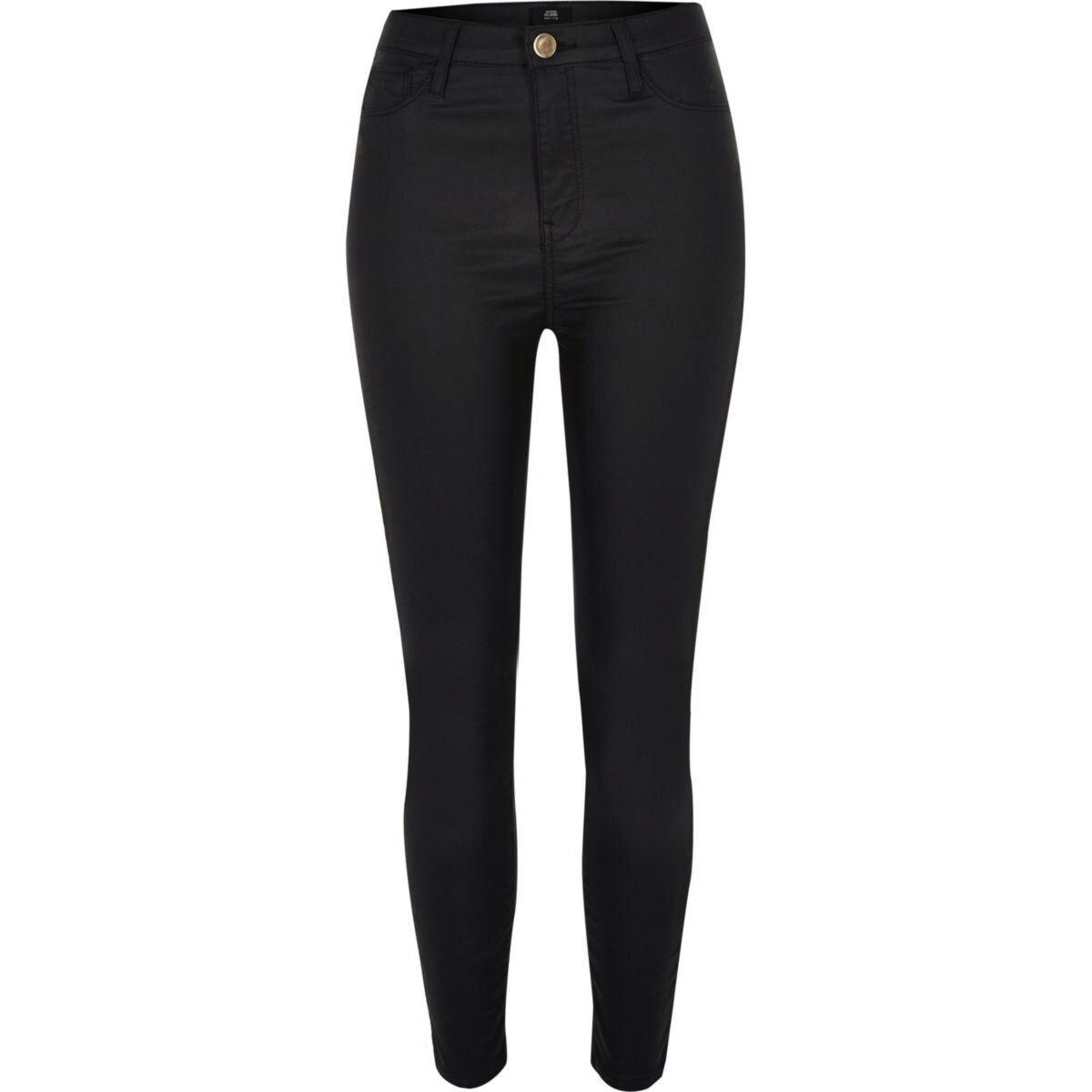 c1562f501cb38 Petite black Harper super skinny coated jeans | Leather pants ...