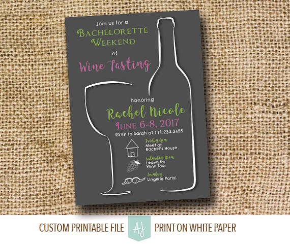 Wine Tasting Party Invitation for the Bachelorette Weekend for the Bride to Be - #Bachelorette #bride #invitation #party #tasting #weekend - #WineTasting