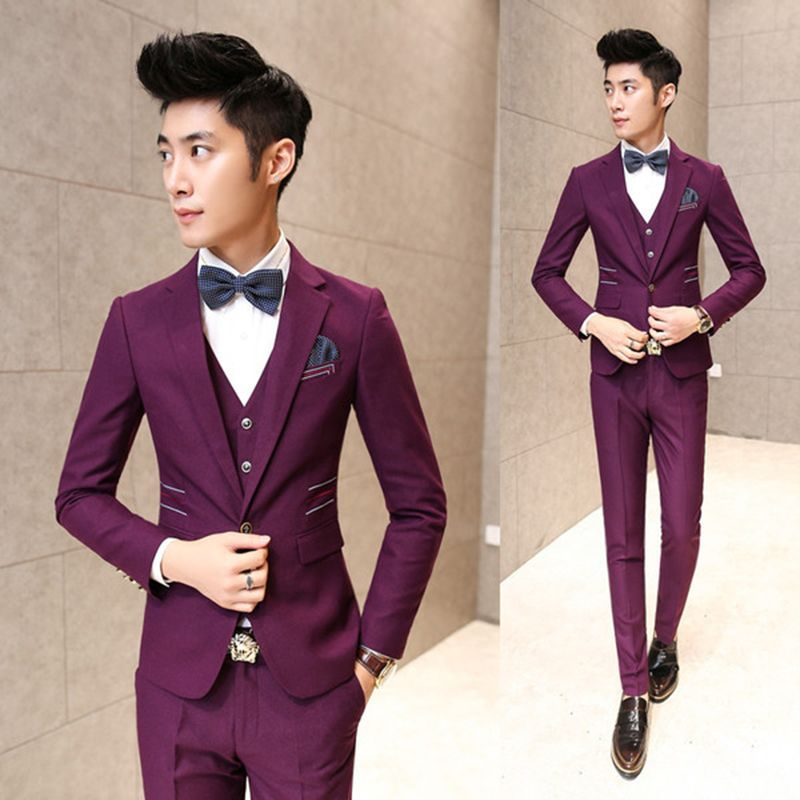 Free Shipping] Buy Best Burgundy Suit ( Jacket Vest Pant) Black ...