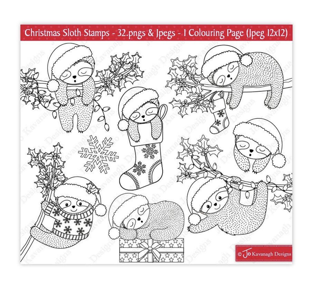 Christmas Sloth Digital Stamps Christmas Cute Sloth Digital Etsy Digital Stamps Christmas Digital Stamps Christmas Sloth