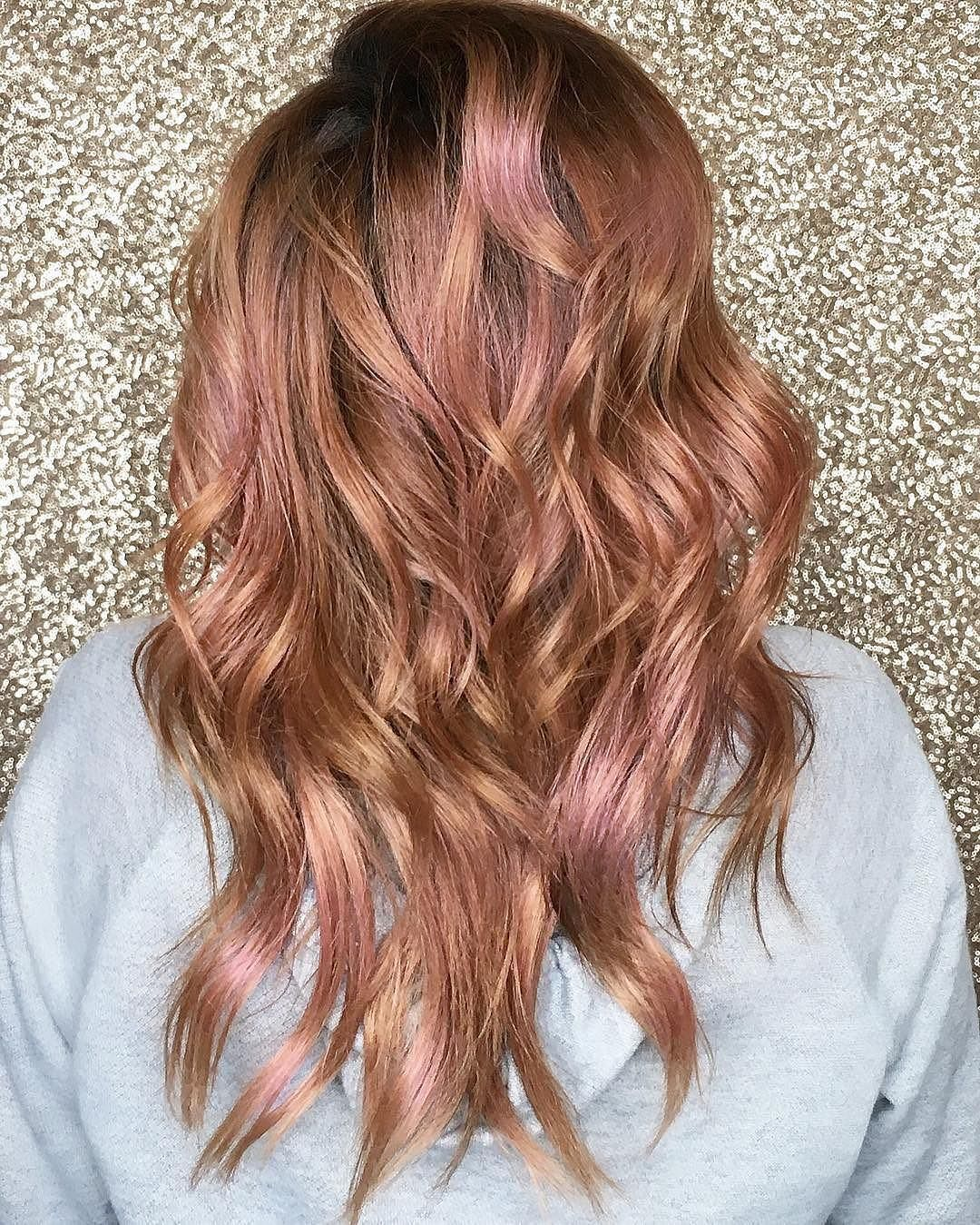 Overtone On Instagram Sparkles Hoodie Rose Gold Curls Achieved With Pastel Pink Hair Color Cherry Coke Rose Gold Hair Blonde Balayage Hair Blonde Long