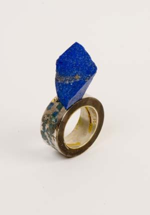 Ring   Givanni Sicuro.  Silver, enamel and Lapis Lazuli