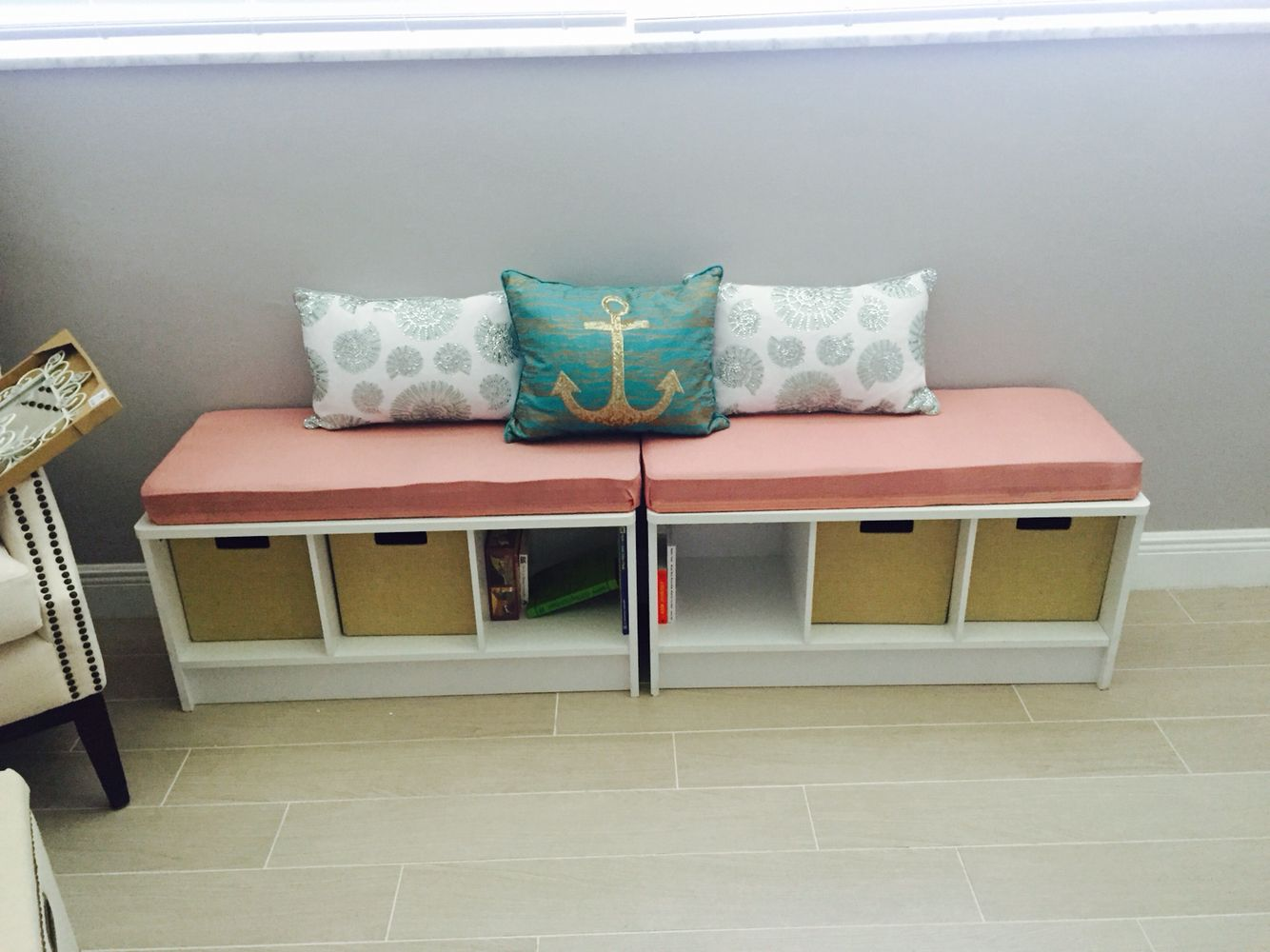 Re Upholstery Closet Maid Storage Bench To Match The Nursery Color Scheme Gray Teal And Coral Pillows From Home Goods Nautical Chic Nursery