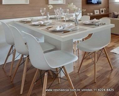Mesa De Jantar Em Resina 1 40 X 0 80 Cor Branca Base Central