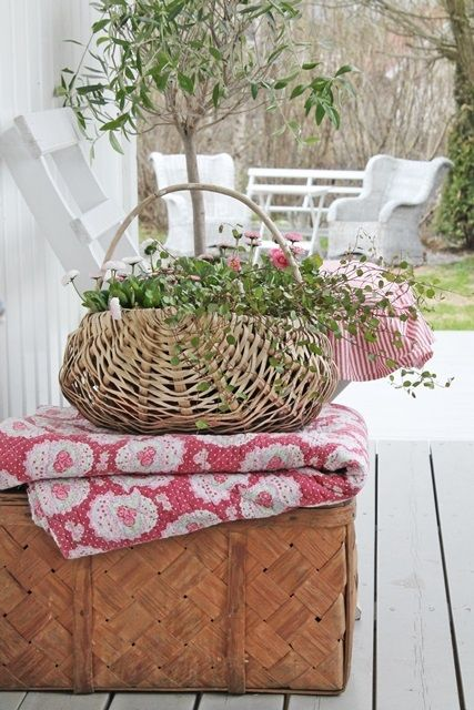 Saaweet ... these are a few of my fav things!  Quilts, baskets, plants!