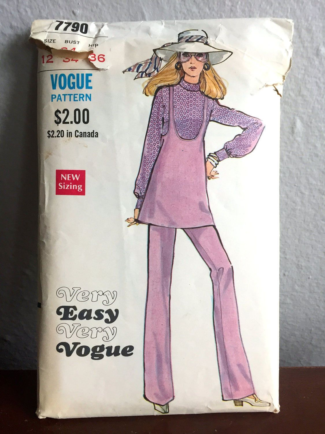 """1970's Vogue Jumper, Long Sleeve Blouse and Wide leg Pants Pattern - Bust 34"""" - No. 7790 by backroomfinds on Etsy"""