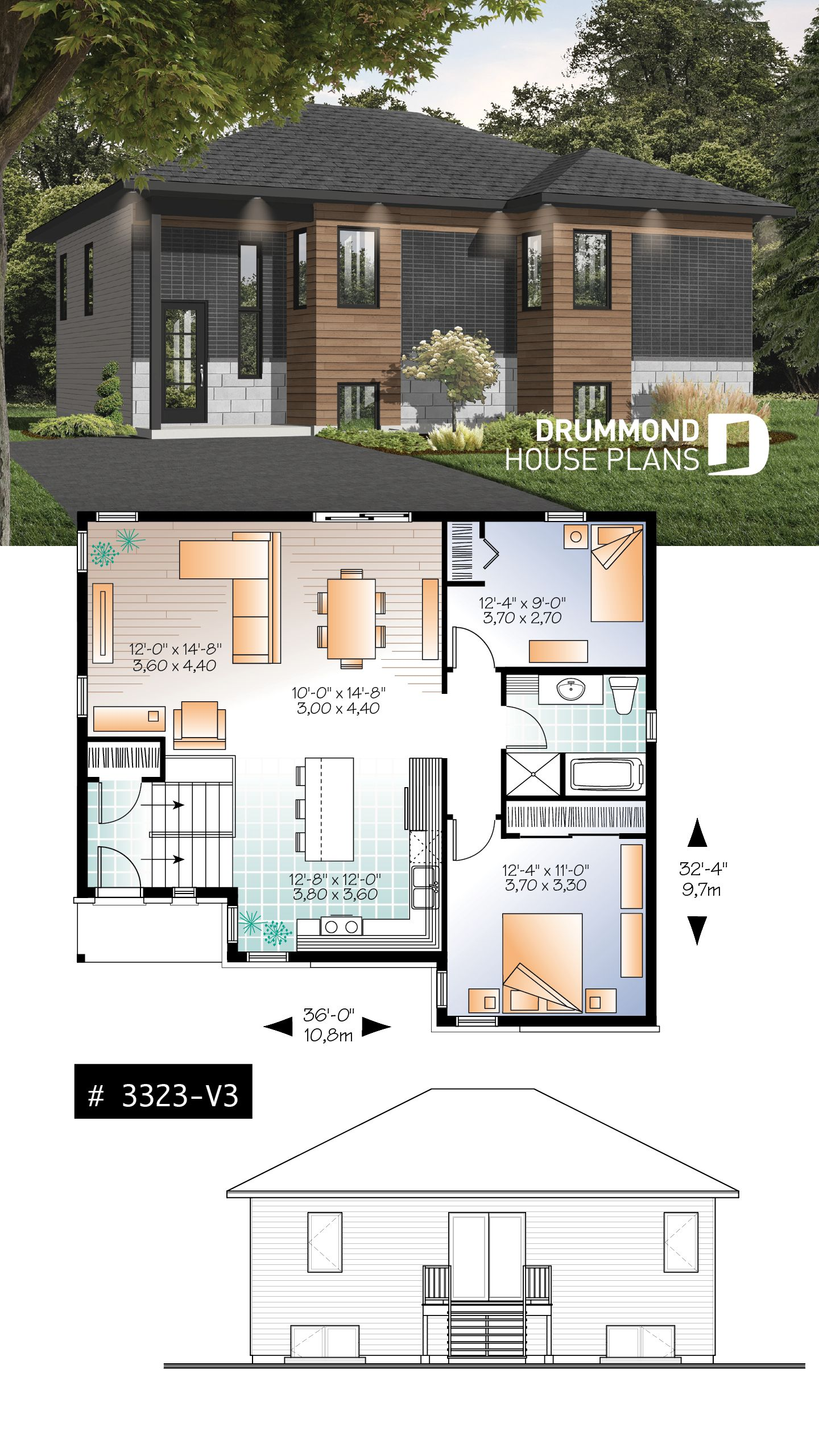 Modern split-level house plan, large kitchen island, open ... on square barn house floor plan, 4 family plan, 2 bedroom bungalow floor plan, 12 sq ft floor plan, aspen floor plan, bi-level pool, bi-level breakfast bar, bi homes floor plan,