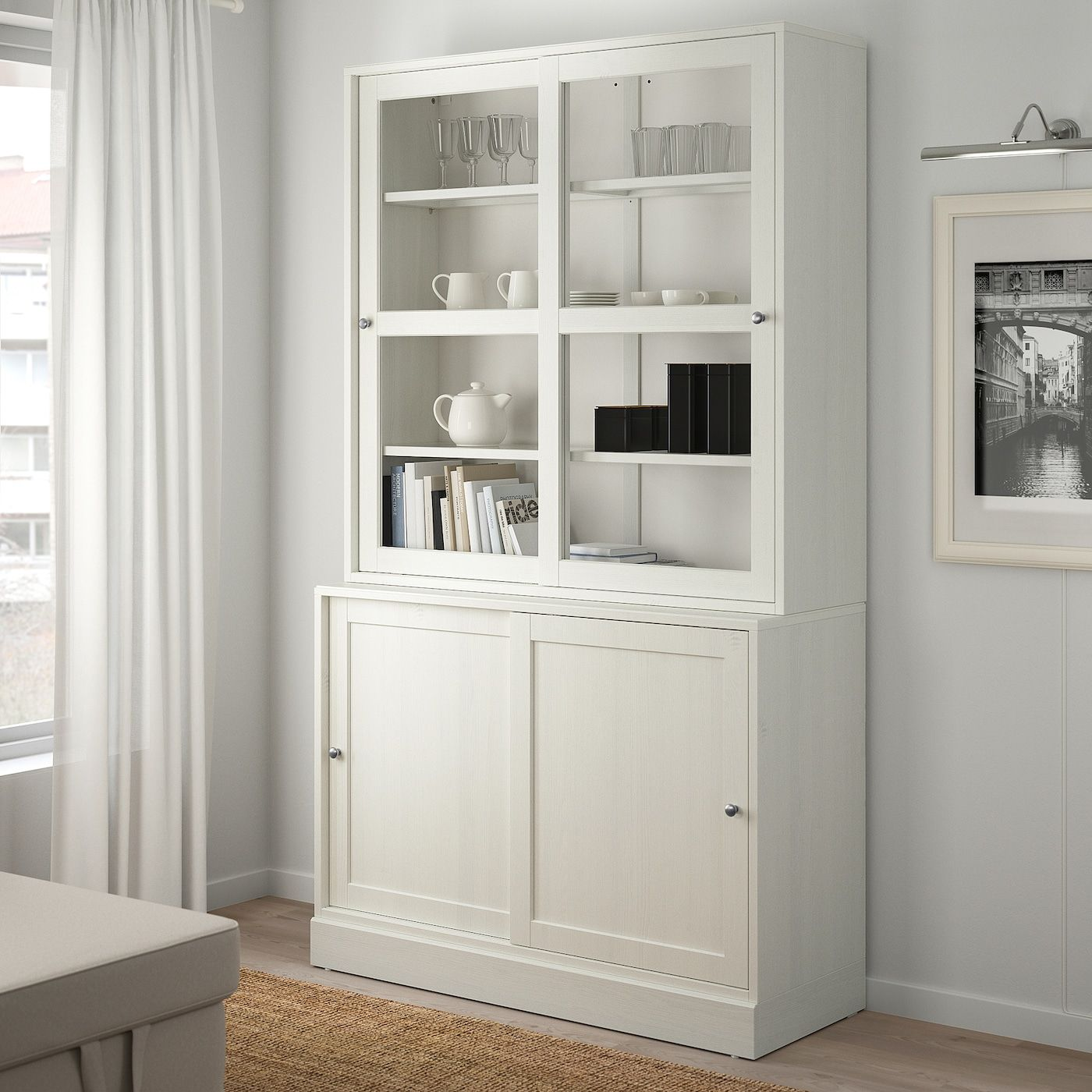 Havsta Storage With Sliding Glass Doors White 47 5 8x18 1 2x83 1