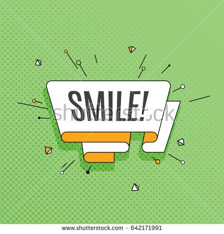 Smile! Retro design element in pop art style on halftone colorful background. Vintage motivation ribbon banner. Vector Illustration.