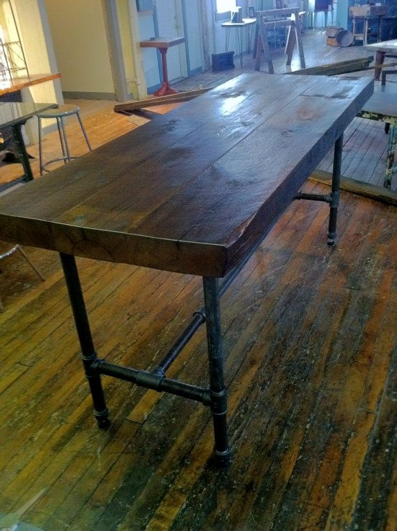 Rustc Modern Table Industrial Reclaimed Wood Top by ReworxCT