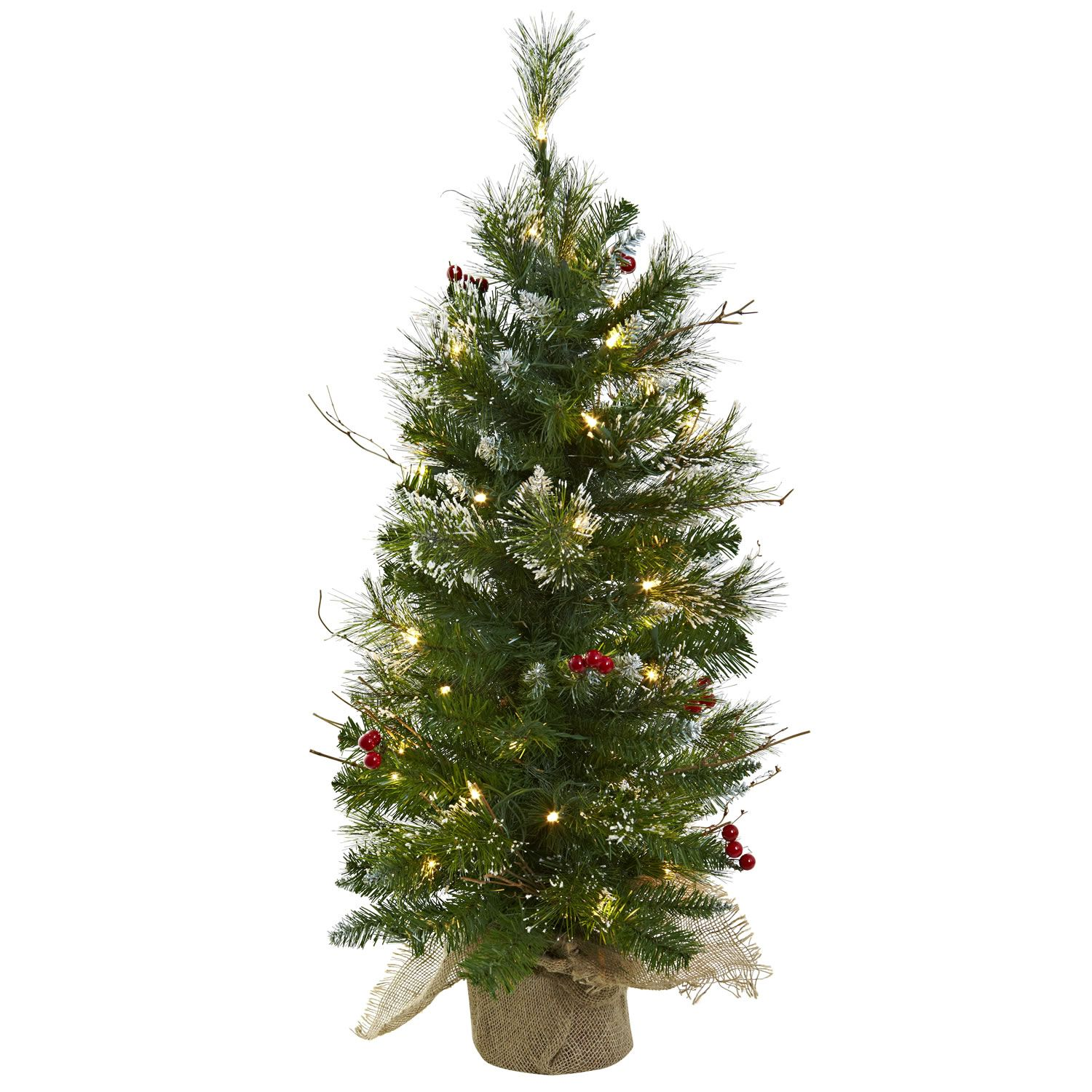 3\' Lighted Christmas Tree with Clear Lights Berries & Burlap Bag ...
