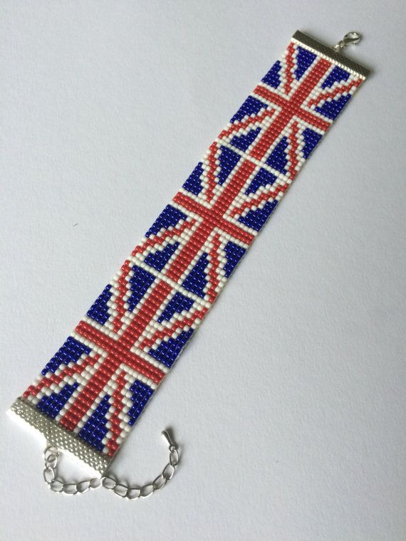 Flag of the United Kingdom, Loom beaded bracelet, Made from high ...