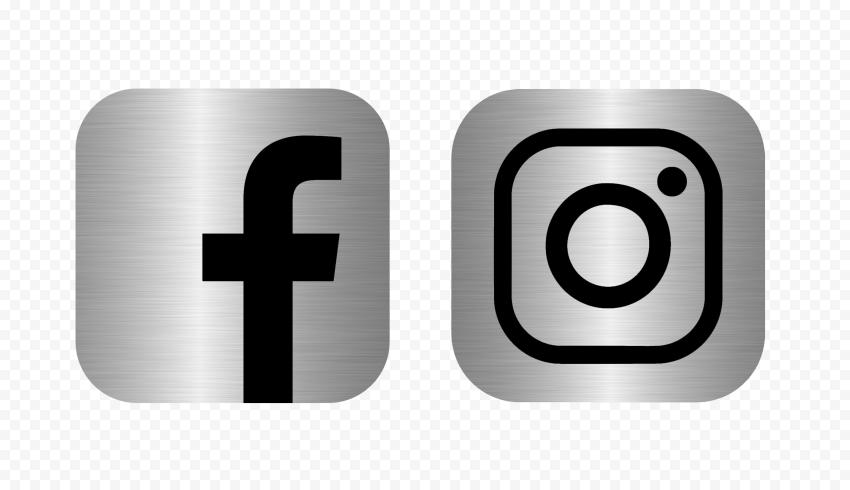 Hd Facebook Instagram Black Silver Metal Square Logos Icons Png In 2021 Square Logo Logo Icons Metallic Silver
