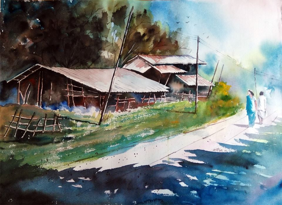 Satya Watercolor Painting Indian Watercolor Landscape Painting