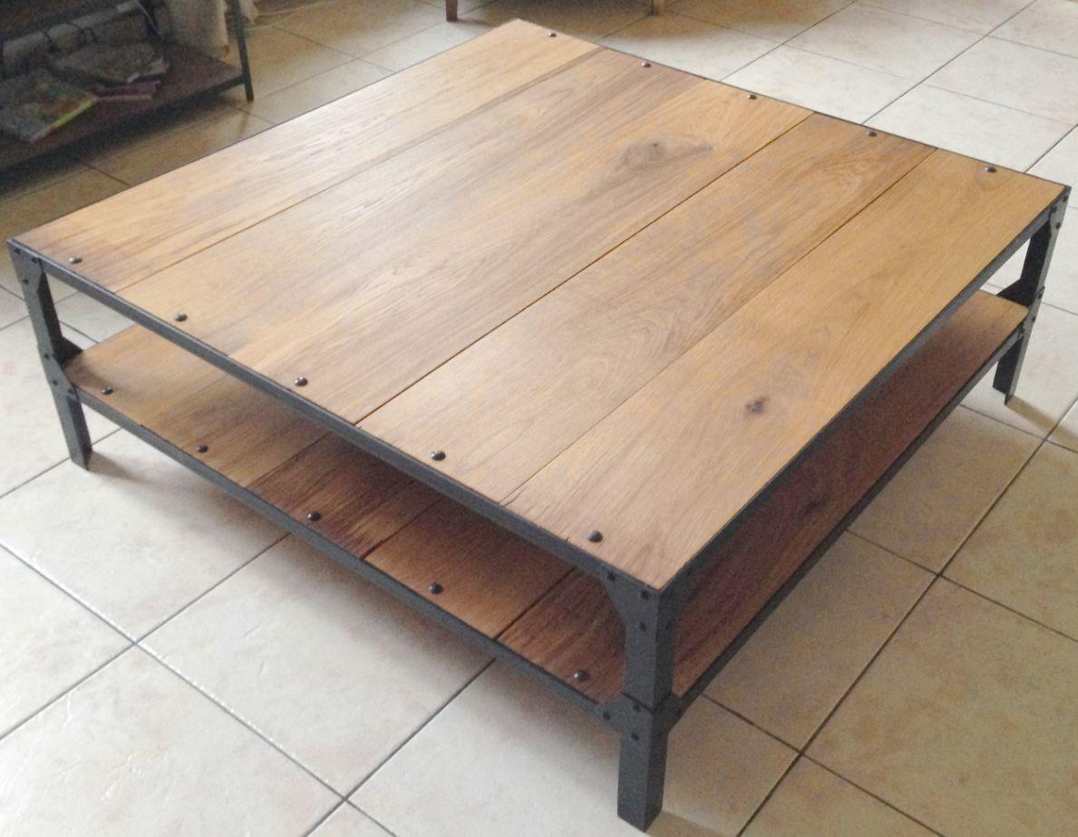 Table basse acier et chêne massif style loft : Meubles et ...