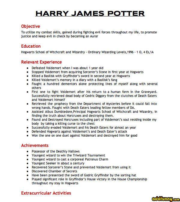 Harry Potter\u0027s Resume via AddFunny Humor Pinterest Harry