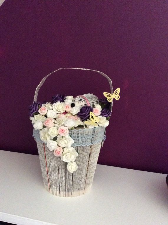 tutorial to make a bucket out of a book by Marciasmemories on Etsy