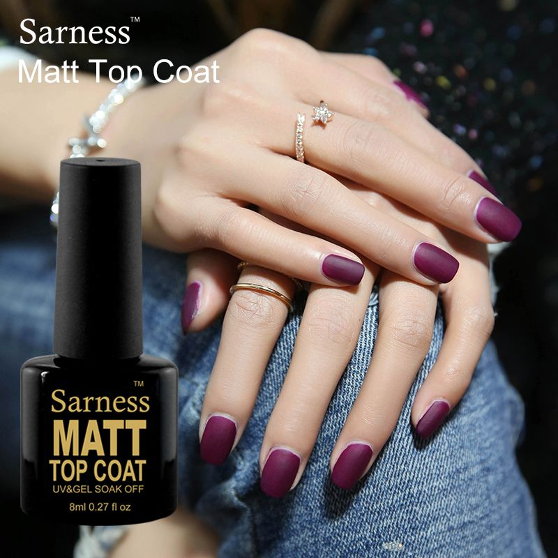 Sarness UV Gel Primer Soak Off Matt Top Coat Nail Gel Polish 8ML Non ...