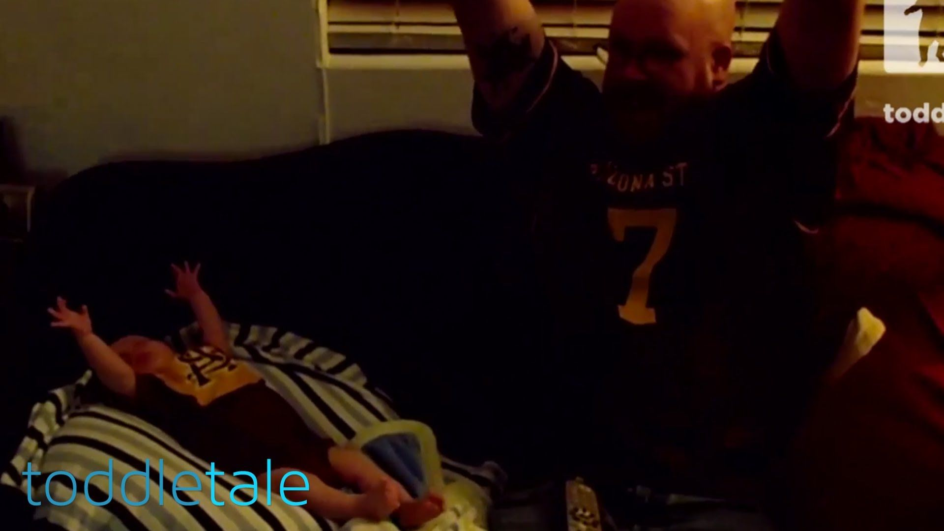 Baby celebrates while watching football with daddy | Active Toddlers | t...
