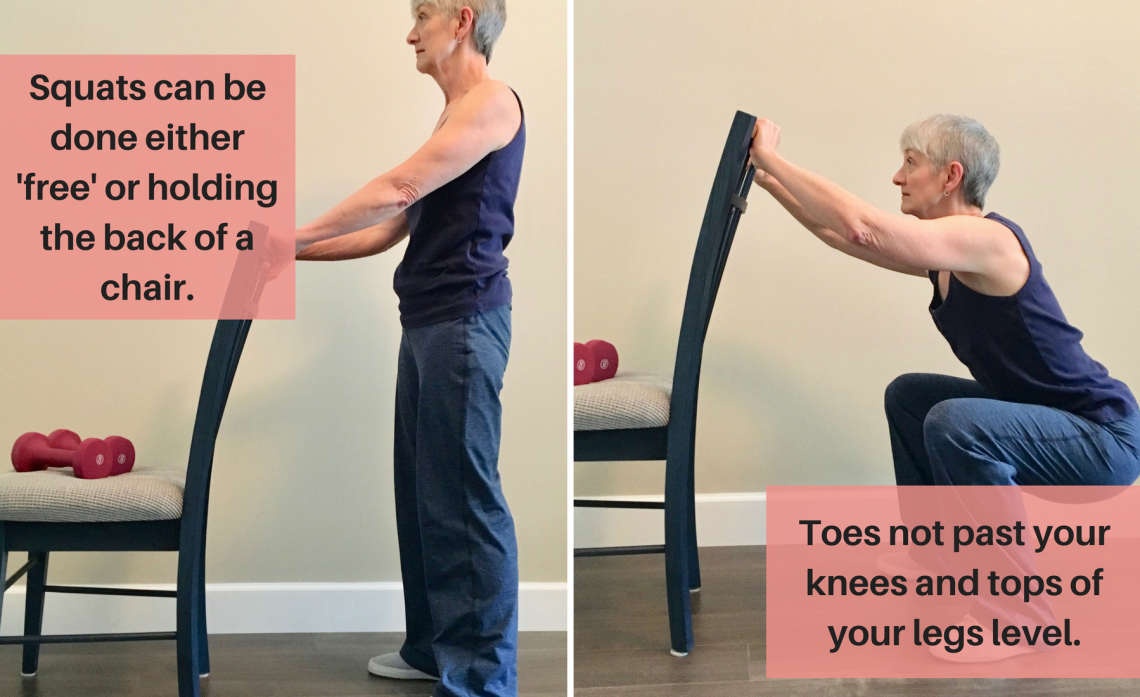 Woman demonstrating a squat exercise. Easy exercise plan for older adults. womens fitness/   Squat workout. Toned body