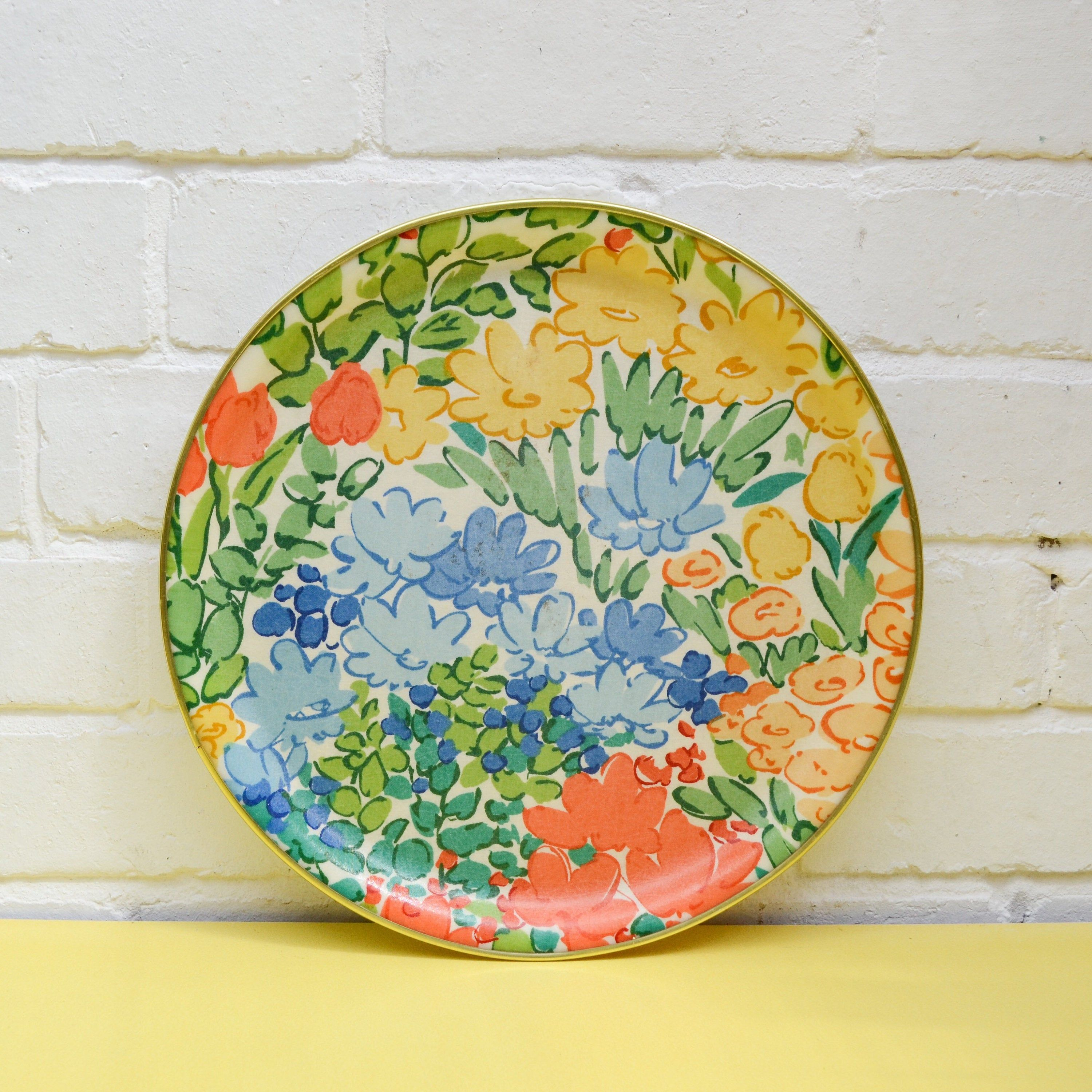 Vintage Fibreglass Tray, Round Floral Serving Tray in 2020