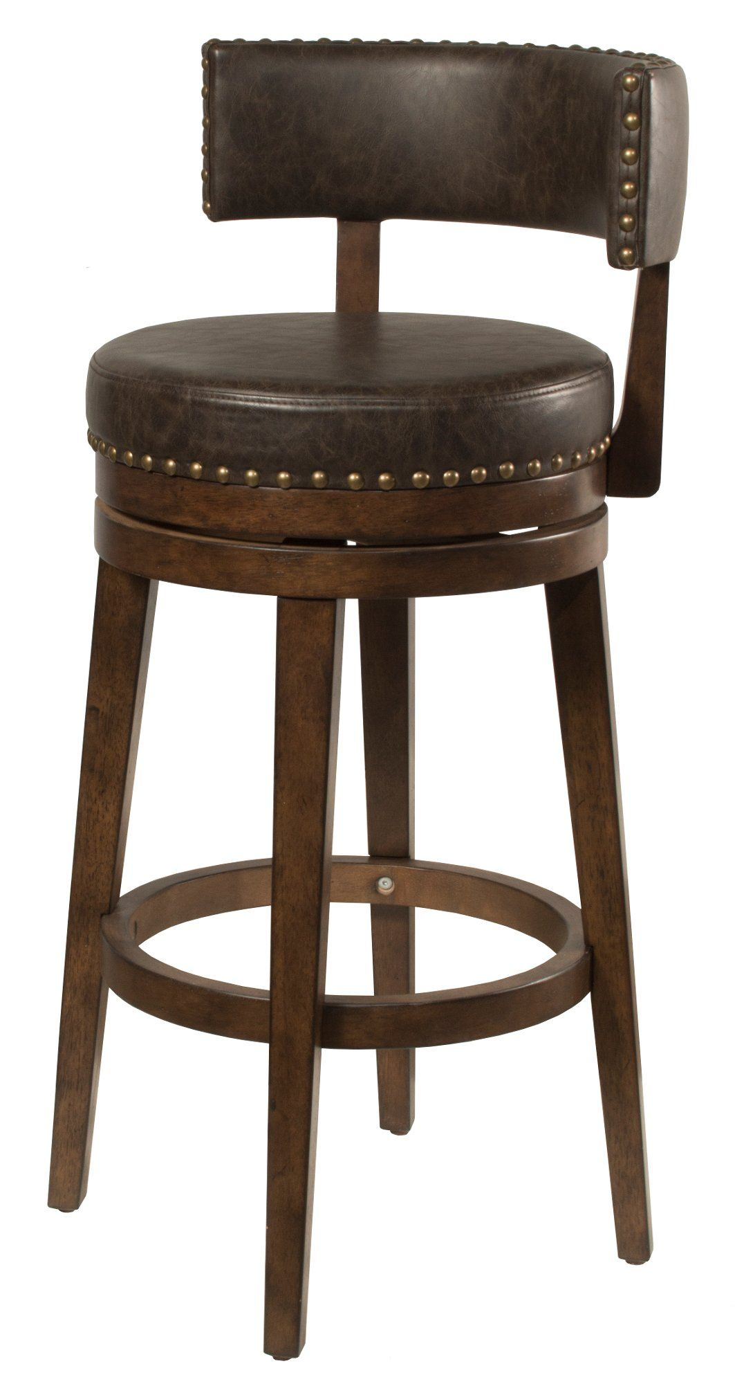 Walnut Brown 26 Inch Swivel Counter Height Stool Lawton Bar