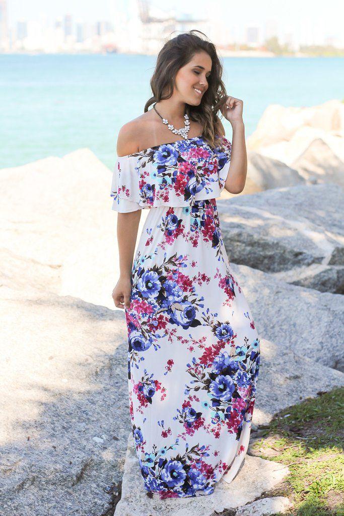 95cd5f6cfdd2 Ivory Floral Off Shoulder Maxi Dress