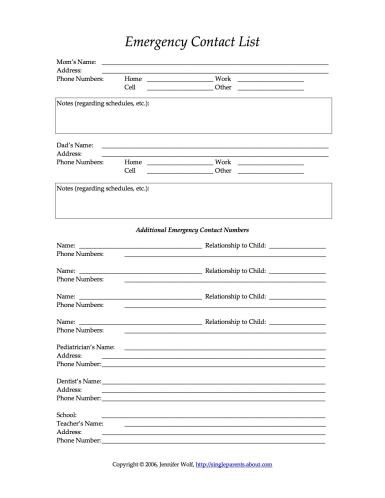 How to Designate a Legal Guardian for Your Kids Emergency preparedness - emergency contact form