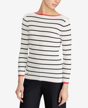 865203e52 Lauren Ralph Lauren Slim Fit Striped Sweater - Mascarpone Cream/Black XXL