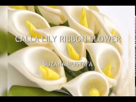 DIY CALLA LILY RIBBON FLOWER - YouTube #flowerfabric