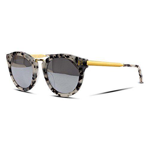 966f4ee43fe45 Orange Hudson Sunglasses Classic Crystal Tortoise Acetate Frame with Matte  Gold Metal Legs Silver Mirror Lenses 100 UV Block Tai…