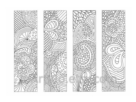 PDF Coloring Page Bookmarks Zendoodle / Zentangle Inspired Printable ...