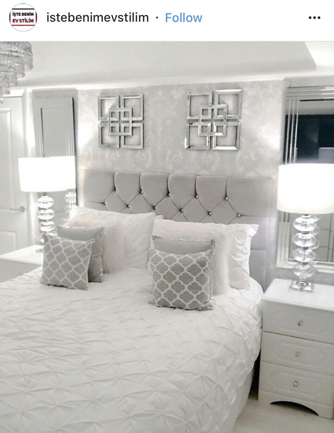 Grey White Bedroom Small Room Bedroom Master Bedrooms Decor Bedroom Interior