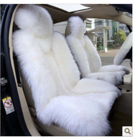 2pcs Sheepskin Car Seat Cover White Color Sheepskin Car Front Driver Seat Cover Car Cushion Car Accessories Sheepskin Car Seat Covers Car Accessories Car Front