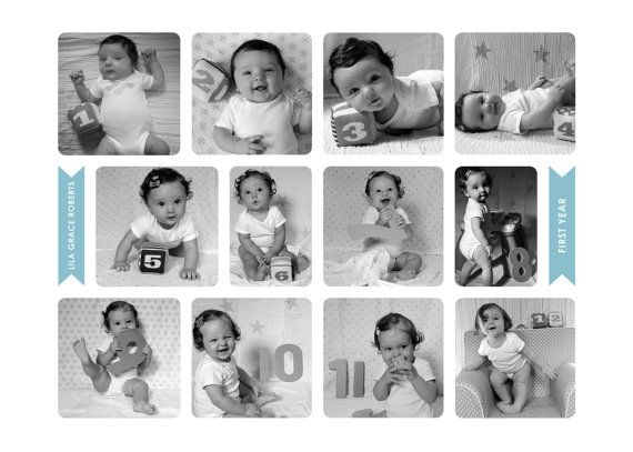 Baby S First Year 12 Month Photo Collage By Wubyandlilac On Etsy 20 00 Baby Photo Collages Monthly Baby Photos Display Birthday Photo Collage