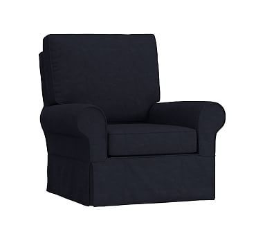 Magnificent Pbk Comfort Chair Slipcover Solid Linen Blend Navy Beatyapartments Chair Design Images Beatyapartmentscom