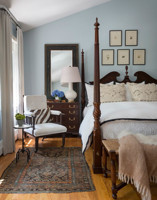 Bedroom Designs Traditional a stately four-poster bed with a quilted headboard anchors the
