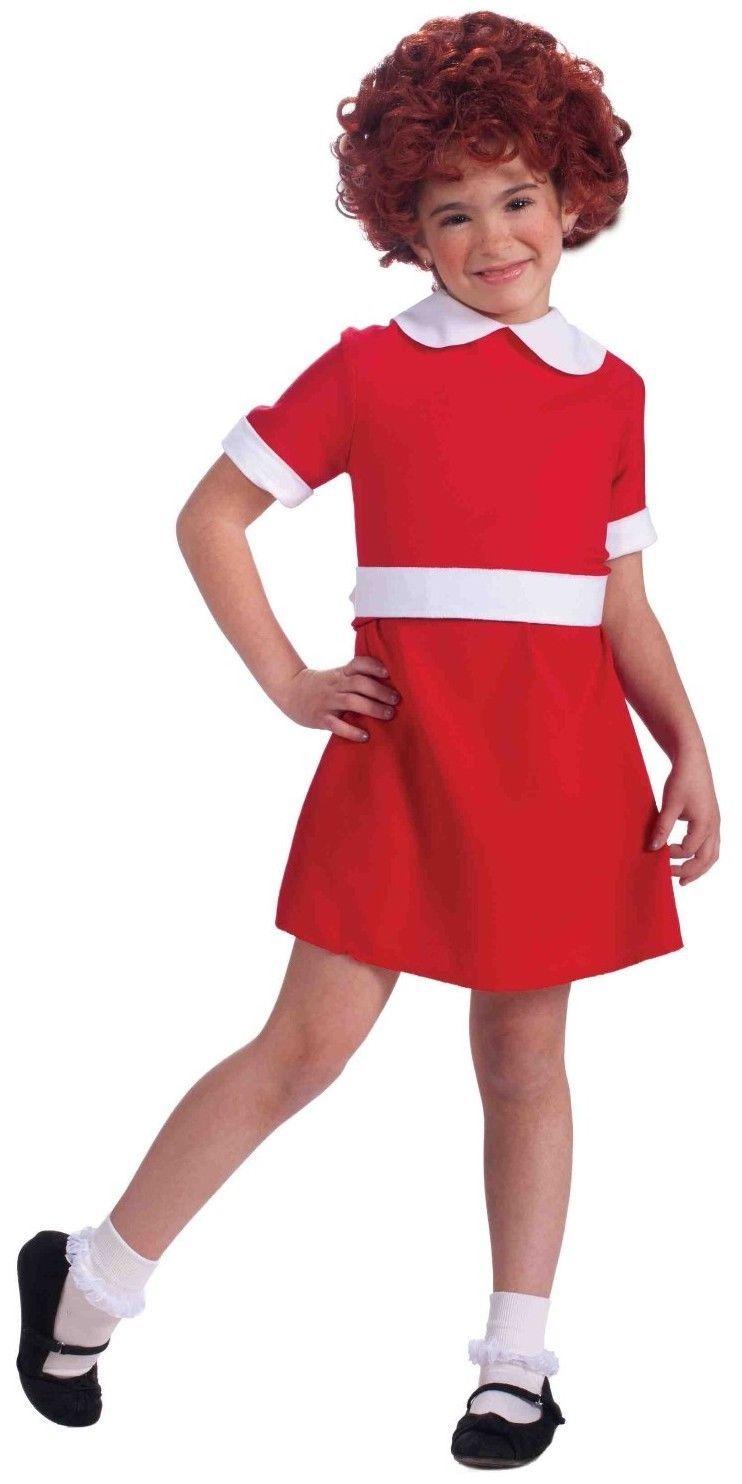 Annie Costume Little Orphan Annie Musical Red Fancy Dress Girls Child Kids S M L