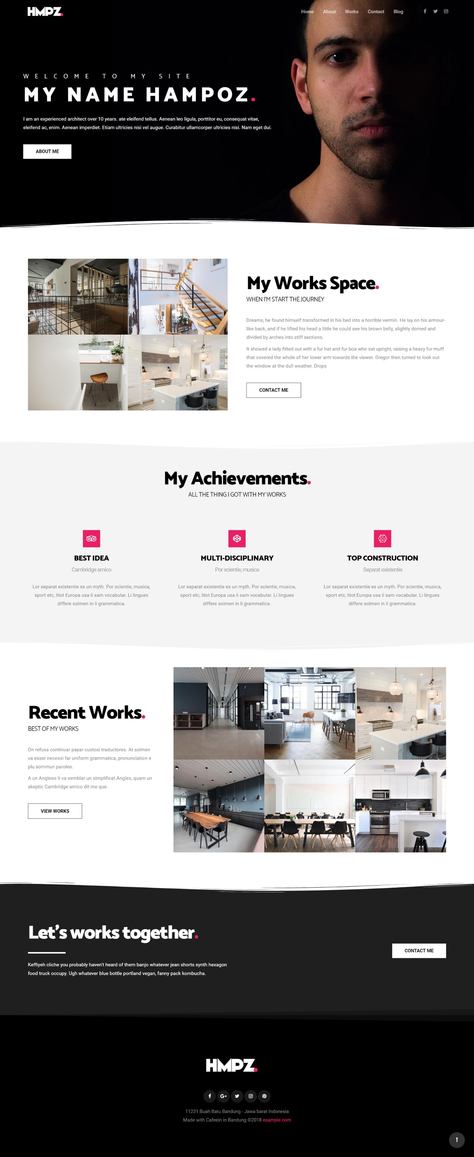 Hampoz Responsive Interior Design Architecture Creative Minimal Wordpress Arhitectur Modern Website Design Portfolio Website Design Interior Design Website