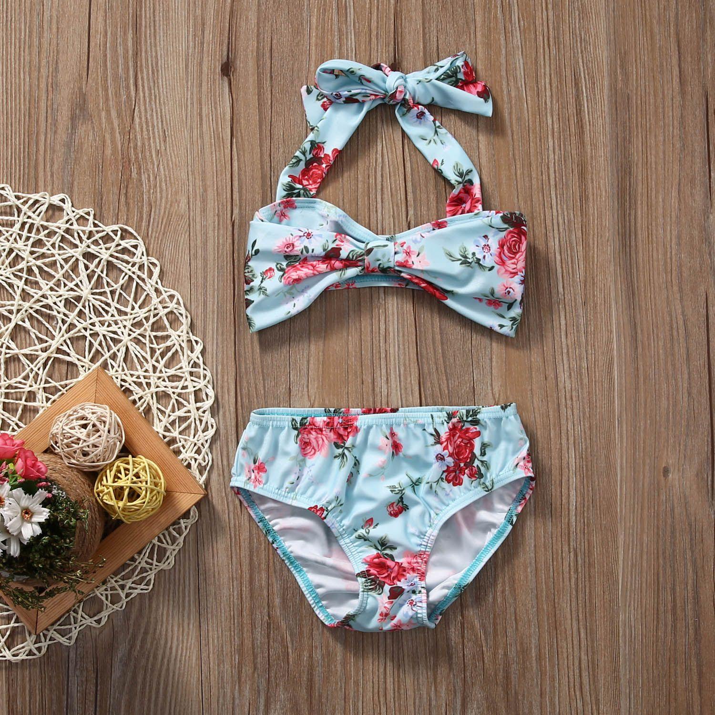 Femmes 2pcs volants Tankini Bikini Floral Maillot de bain baignade Beachwear Robe 34