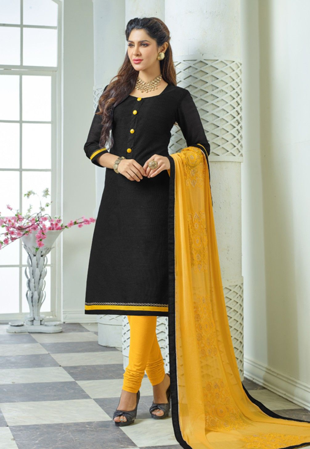 d9286638fbc Vibrant Black & Yellow Salwar Suit Dress Material-1012. | Dress ...