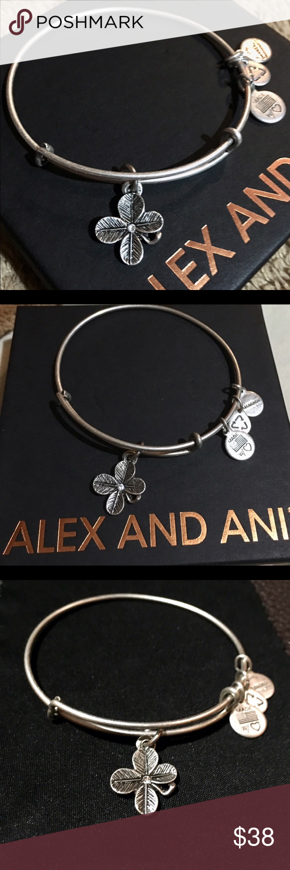 Alex and Ani Lucky Clover Bangle BNWOT,  Luck | Fortune | Prosperity The ultimate omen of good luck, finding a four leaf clover will bring good fortune to its finder. According to tradition, each leaf represents the virtue of faith, love, hope, and luck. Wear the Lucky Clover for increased luck and prosperity. Alex & Ani Jewelry Bracelets